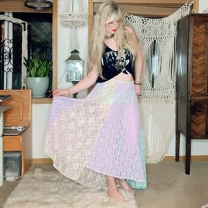 Free People Lace Sheer Mutli Colored Maxi Skirt